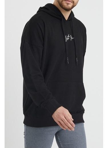 XHAN Siyah Önü Arkası Baskılı Kapüşonlu Sweatshirt 1Kxe8-44343-02 Siyah